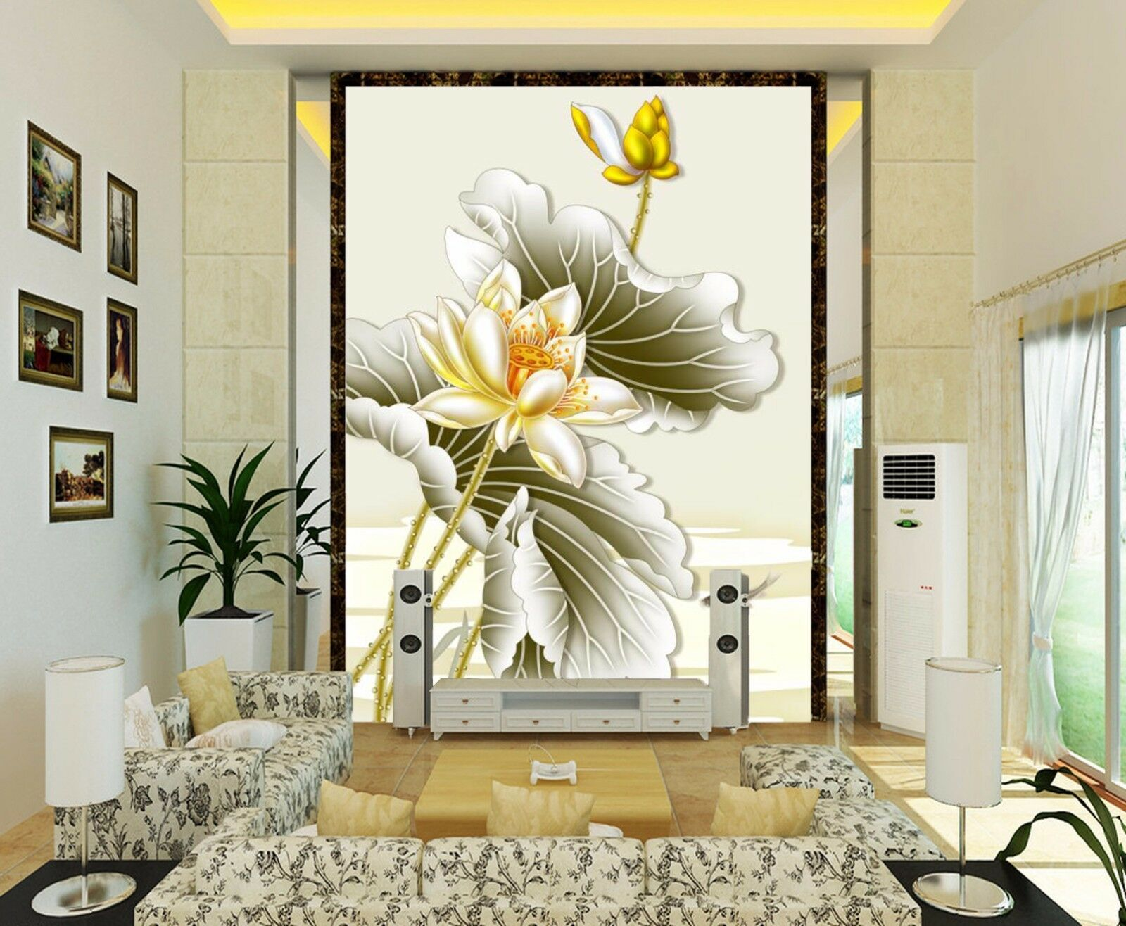 3D Lotus Carp Painting 843 Wallpaper Mural Paper Wall Print Wallpaper Murals UK