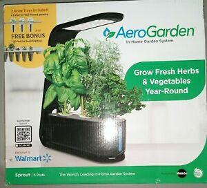 AeroGarden Sprout Black 3-Pod Garden + 15 Pod Seed Kit Walmart Exclusive NEW