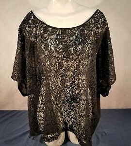 2eb57ff8ae7 Image is loading Torrid-womans-sequin-lace-blouse-plus-size-casual-