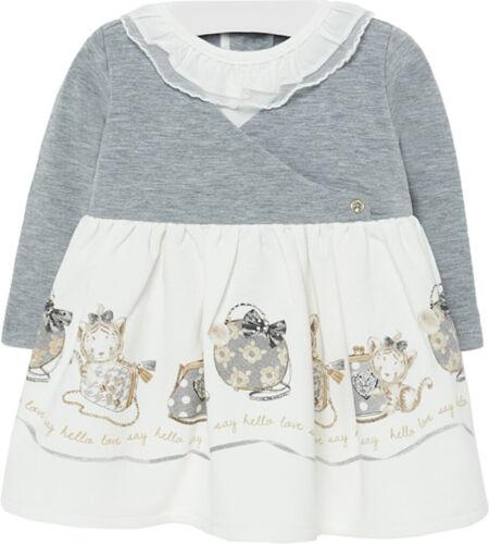 Mode Fur Babys 68 98 Winterkleid Katzchen Grau Mayoral Baby Madchen Sweat Kleid Langarm Gr Kleidung Accessoires