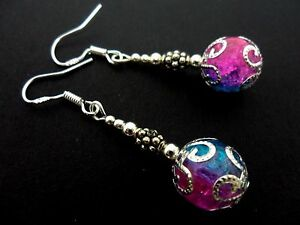 A PAIR OF DANGLY CRACKLE GLASS BEAD  EARRINGS WITH 925 SOLID SILVER HOOKS. NEW.