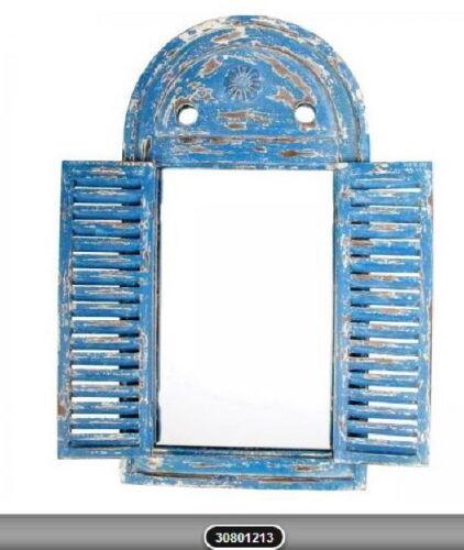 Fenster Holz Spiegel 2 Klappen Antik Rustikal Design blau oder beige