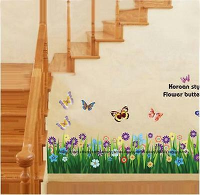 Colourful Butterfly Flowers and Grass Fence Art Decal Wall Stickers Bed Lounge