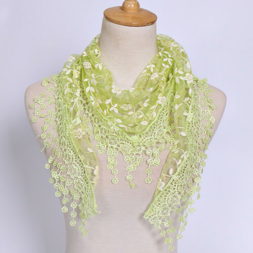 Women Summer Mesh Lace Triangle Embroidered Neckerchief Scarf Snood  Wrap Tassle