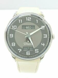 Junghans-Meister-Driver-Men-039-s-Day-Date-Automatic-Watch-round-gray-027-4721-01