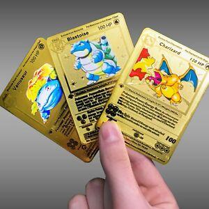 Metal-Pokemon-Card-Charizard-Blastoise-Venusaur-Gold-Shadowless-1st-ed