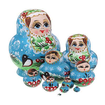 10pcs Wood Blue Girls Russian Nesting Doll Babushka Matryoshka Stacking Doll