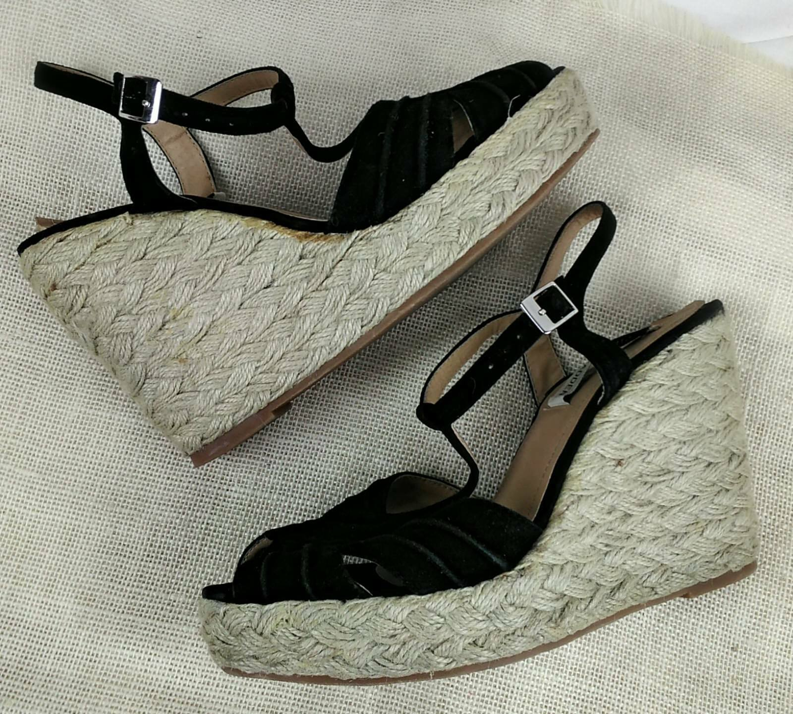 STEVE MADDEN Womens Wedges Shoes Size Open 9 Black Suede Strappy Open Size Toe High Buckle 744985