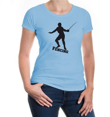 Damen Kurzarm Girlie T-Shirt Fencing Fechten Fechtsport Kampfsport