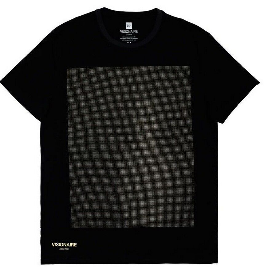 ADAM FUSS x Visionaire x Gap 'Ghost' gold Foil T-Shirt S Sold-Out Ltd. Ed. NEW