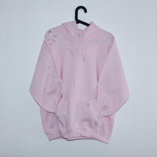 9Deuce Ripped Distressed Boxy fit Hoody Hooded Sweatshirt Baby Pink