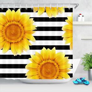 2021 Sunflower Bathroom Shower Curtain Bath Toilet Lid Cover Rug Set Home Decor