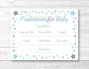 Blue Twinkle Star Baby Shower Baby Predictions Game Cards Printable