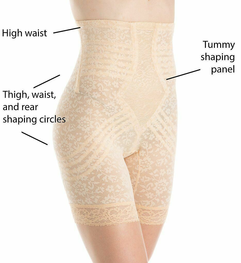 Rago Shapewear Extra Firm High Waist Beige Leg Shaper Plus Size 36 3XL