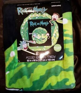 "Rick and Morty Animation Throw Blanket [adult swim] 50"" x 60"" NEW"