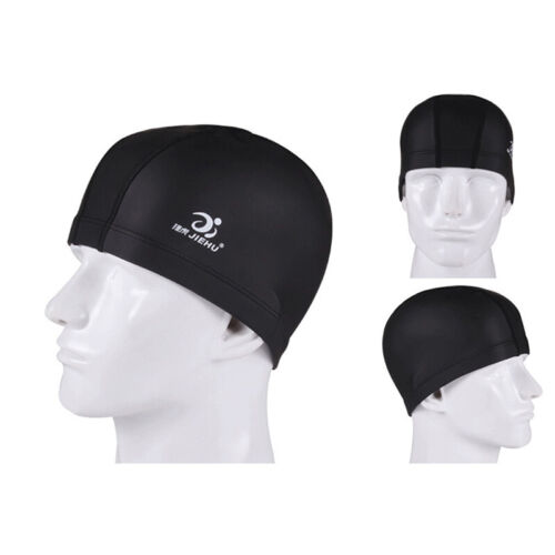 Elastic Waterproof PU Fabric Protect Ears Long Hair Sports Swim Cap For Adults#