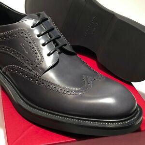 Ferragamo-Wingtip-Brogues-10-D-43-Mens-Black-Dress-Oxford-Shoes-Formal-Dark-Gray