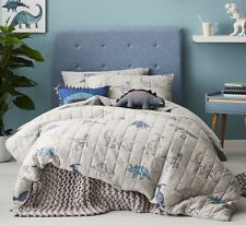 Adairs Kids Harvie Jersey Quilted Bedlinen Marle Grey Quilt Cover