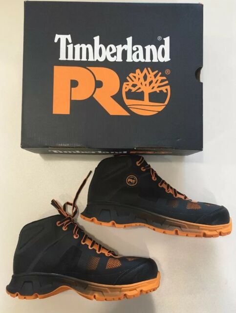 90cd1750e72 Timberland Pro A16rf Mens Black/orange Velocity EH Mid Alloy Toe Work Shoes  8.5 Medium
