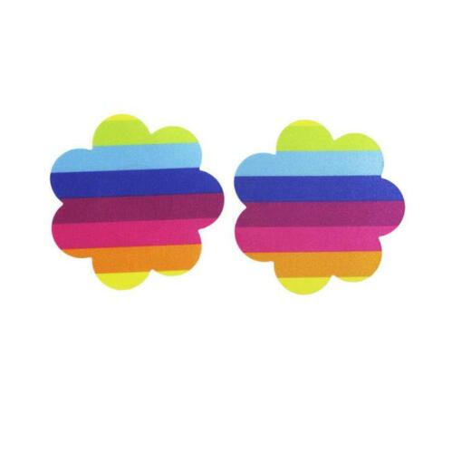 2Pcs of Invisible Breast Pasties Adhesive Nipple Cover Sticker Pads Rainbow