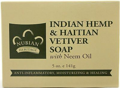 NUBIAN HERITAGE INDIAN HEMP & HAITIAN VETIVER SKIN BODY BAR SOAP  5 OZ.