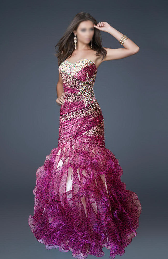 PINK LEOPARD MERMAID  LACE-UP BEADED FORMAL EVENING PROM BALL BRIDESMAID GOWN