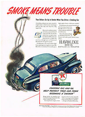 Advertising Collectibles Amicable Vintage 1941 Magazine Ad Texaco & Havoline Oil Prevent Smoking Car Borden's