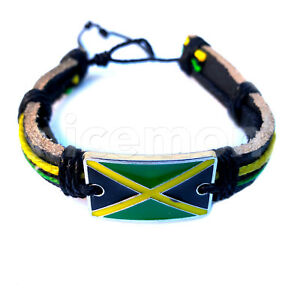 Image Is Loading Jamaica Flag Leather Wrist Cuff Bracelet Hippie