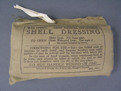Original British WWII Large Wound Shell Dressing Bandage Dated June 1940