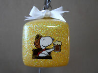 Handmade Peanuts Snoopy red Baron 2 Square Glass Ornamentmade In The Usanew