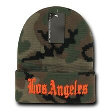 "Camo & Orange Los Angeles LA Embroidery 12"" Long Cuffed Vintage Beanie Beanies"