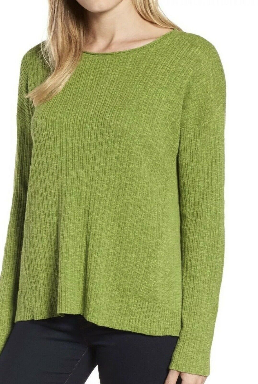 NEW Eileen Fisher Grün Grass Texturot Linen Cotton Crew Neck Sweater Top Sz Lg