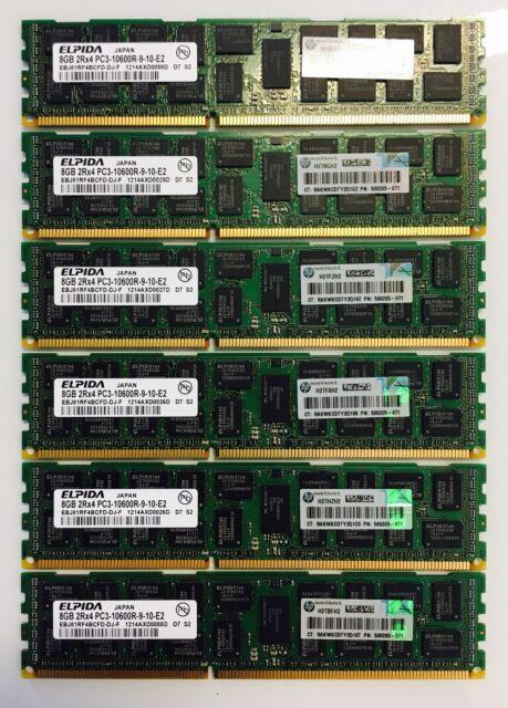 64GB 8 X 8GB 2Rx4 PC3-10600R Registered Server HP P//N 500205-071 Memory