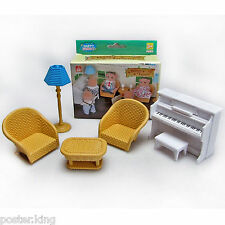Set Piano Sofa Lamp For Sylvanian Families Furryville Calico Critters Dolls  1 16