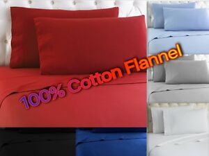 Heavy-Winter-Flannel-100-Cotton-Sheet-set-Fitted-Flat-Pillow-Cases-Deep-Pocket