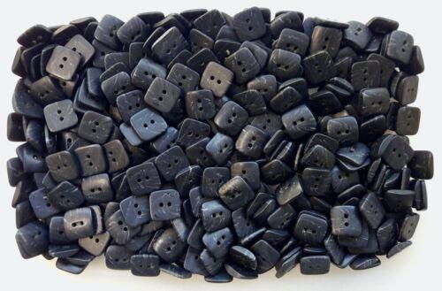 Square 10 mm 11 mm 14 mm 15 mm Matt Black gris ardoise Swirl 2 Trous Boutons Q702A-D