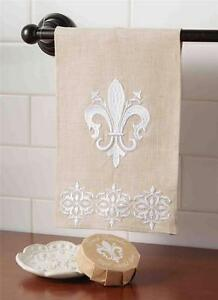 Mud Pie French Collection Fleur de Lis Linen Towel Soap Dish Bath Set 4404145