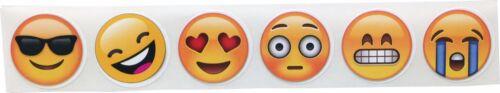 6 diverse facce Emoji Cerchio Adesivi 1 pollici rotonda 500 Etichette su un rullo