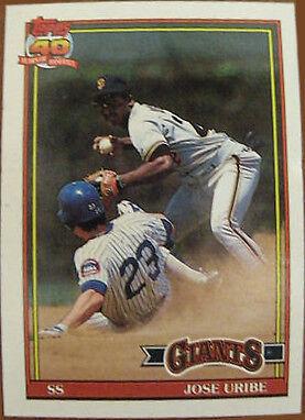1991 Topps Jose Uribe 158 Baseball Card