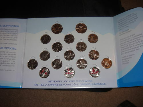 CANADA 17 COIN SET 2010 VANCOUVER OLYMPICS 3 RED COINS