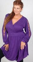 Purple Blouse Top Dress Mini Wrap Cross Over Jersey L Xl 1x One Size Zd707