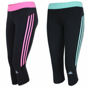 adidas Womens Response 3 Stripe ClimaLite 34 Running Capri Leggings BlackSolar Pink