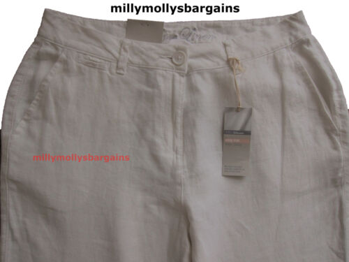 New Womens Marks /& Spencer White Linen Chino Trousers Size 20 18 16 14 12 10