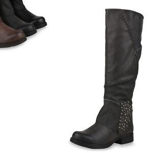 Damen Stiefeletten Leicht Gefütterte Boots Nieten Schuhe 835782 Trendy Neu