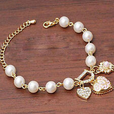 Women Jewelry Pearl Love Heart Flower Crystal Bracelet Bangle Fashion Charm Gift