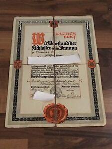 Gesellenbrief-Deutschen-Reichsverband-des-Schlosserhandwerks-1930-Plauen