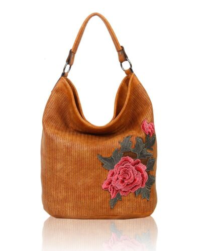 New Women/'s Stylish Floral Embroidered Hobo Shoulder Bag Shopper Style Hand Bag
