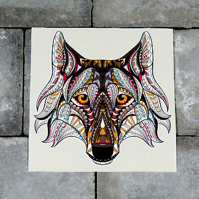 Stained Glass Style Howling Wolf Vinyl Sticker Decal Window Car Van SKU6208