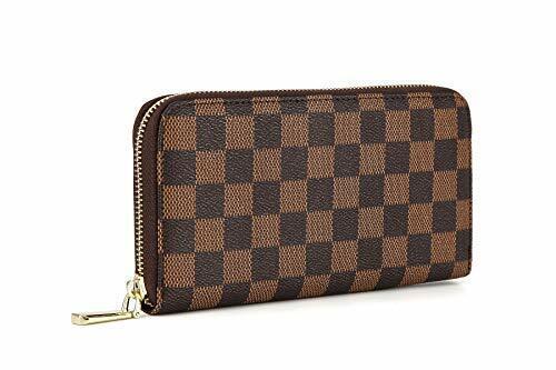 Womens Checkered Zip Around Wallet and Phone Clutch RFID Blocking
