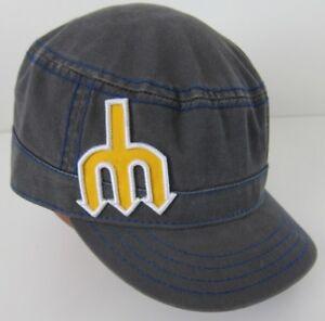 8eee5b72d36 Retro SEATTLE MARINERS Trident Logo MLB BASEBALL HAT Cadet Women s ...